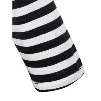 Striped Pleated A Line Dress - BLACK/WHITE/RED 4XL