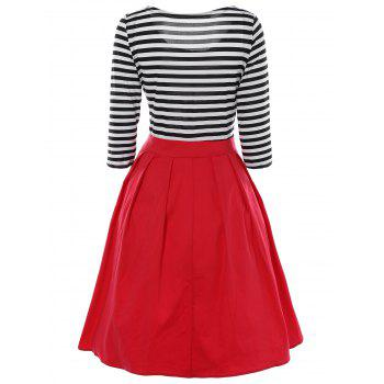 Striped Plissé A Dress Ligne - Noir / Blanc / Rouge XL