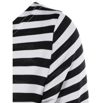 Striped Plissé A Dress Ligne - Noir / Blanc / Rouge L
