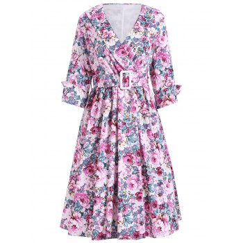 Shawl Collar Floral Swing Wrap Dress