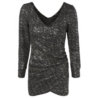 Short Sequin Glitter Club Dress with Long Sleeves