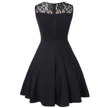 Sleeveless Lace A Line Party Swing Skater Dress - BLACK M
