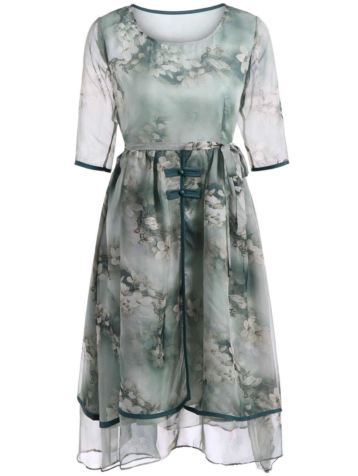 Elegant Floral Print Two-Layered Belted Full Dress - GREEN 2XL