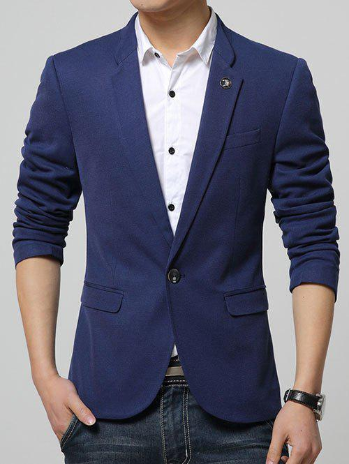 Lapel Collar Flap Pocket Textured Blazer - BLUE XL