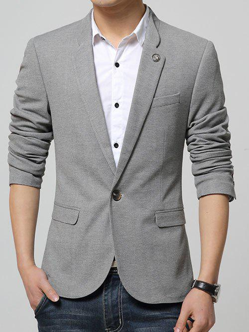 Lapel Collar Flap Pocket Textured Blazer - GRAY M