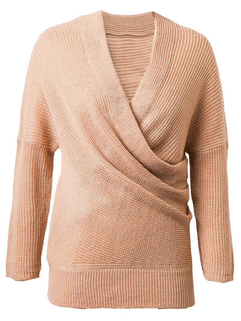 Crossover V Neck Pullover Sweater - KHAKI ONE SIZE