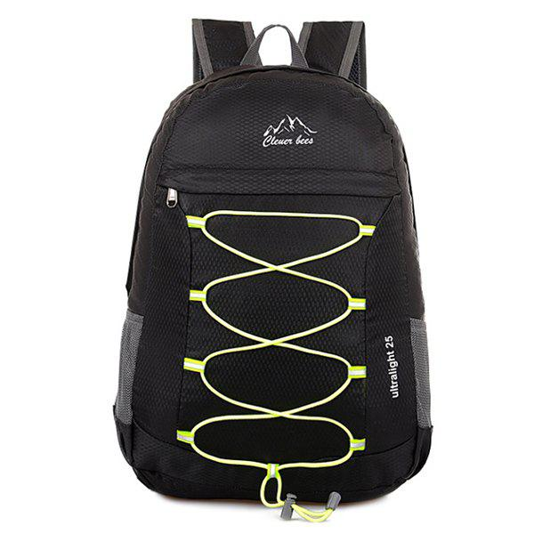 Nylon Cross Straps Zippers Backpack - BLACK