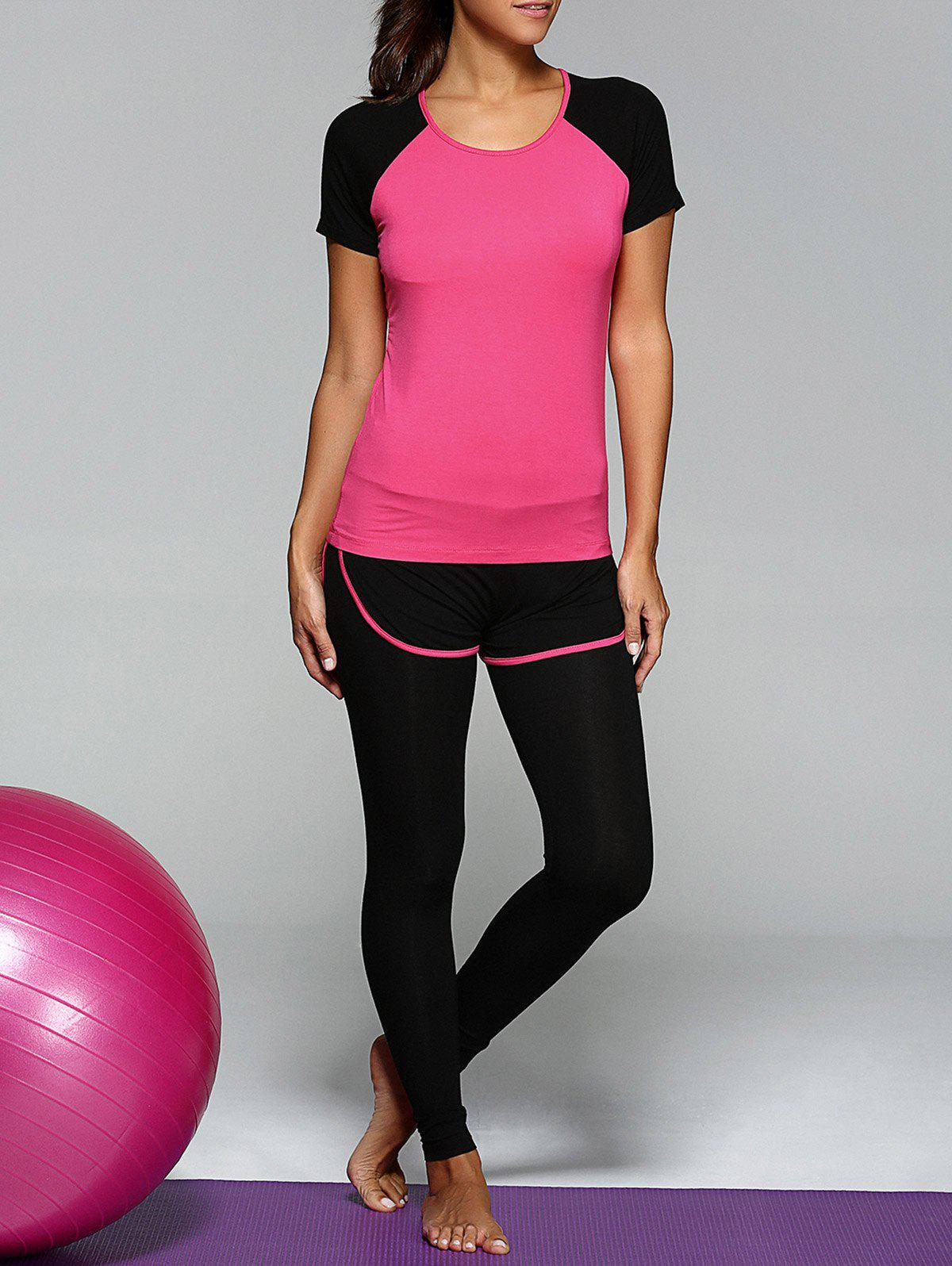 Scoop Neck Top and Bicolor Leggings Suit - ROSE RED 2XL