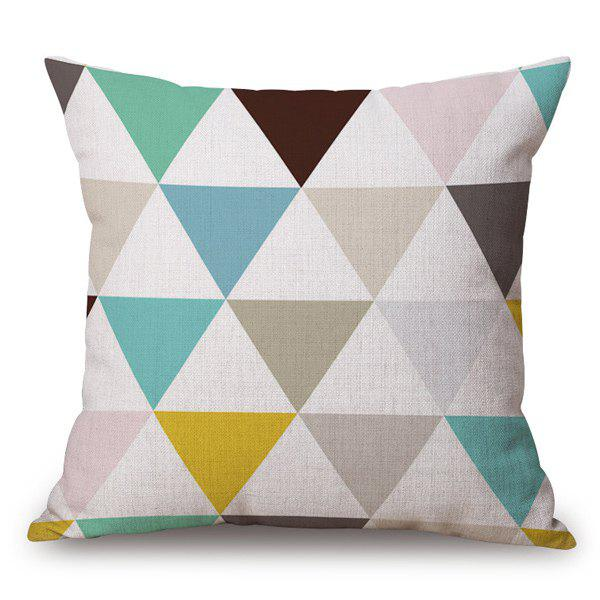 Triangle Rhombus Geometry Design Sofa Flax Pillow Case stunning glow diy design sequins embellished sofa pillow case