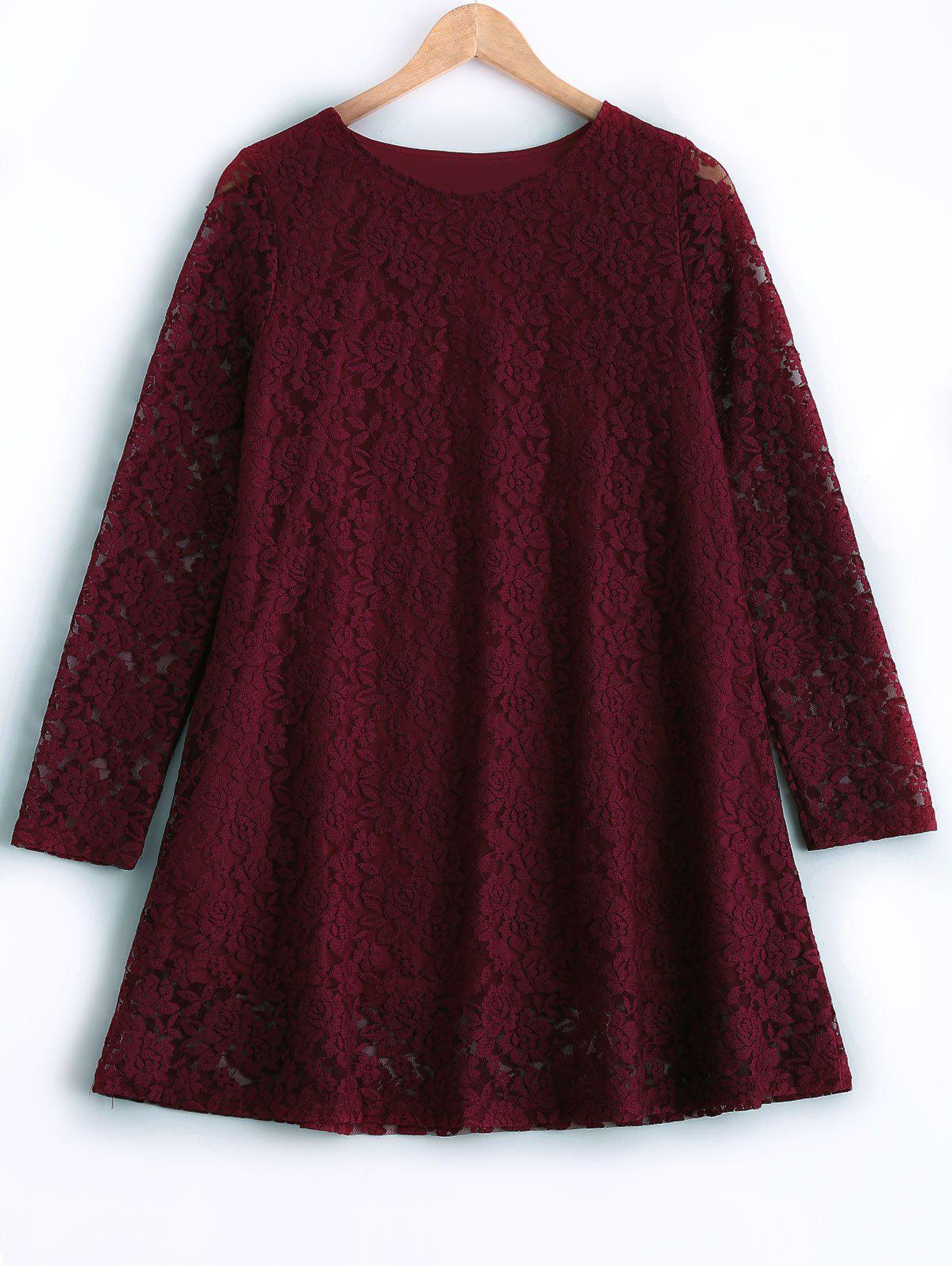 Plus Size Long Sleeve Lace Dress - WINE RED 3XL