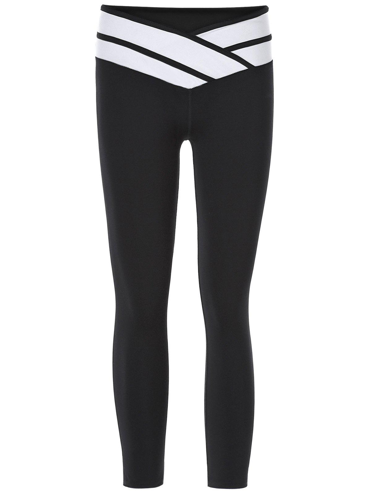Sporty Women's Color Block Slimming Capri Pants - BLACK M