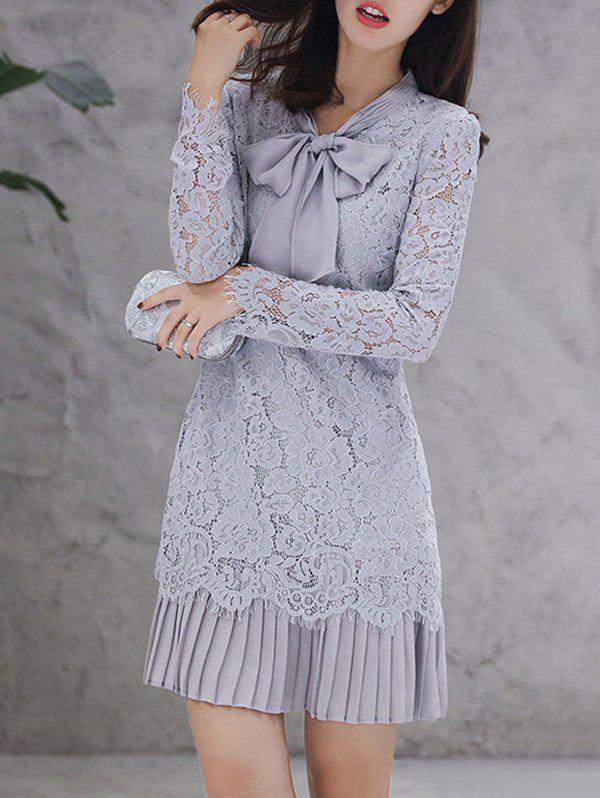 Bow Tie Long Sleeve Embroidery Lace Dress, Light gray