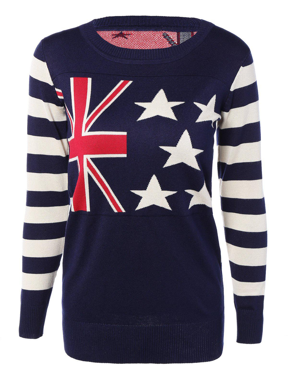 Buy Striped Sleeves Flag Print Knitted Dress DEEP BLUE