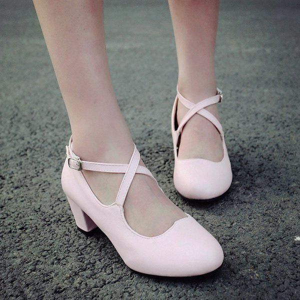 Sweet Cross Strap and Round Toe Design Women's Pumps - PINK 39
