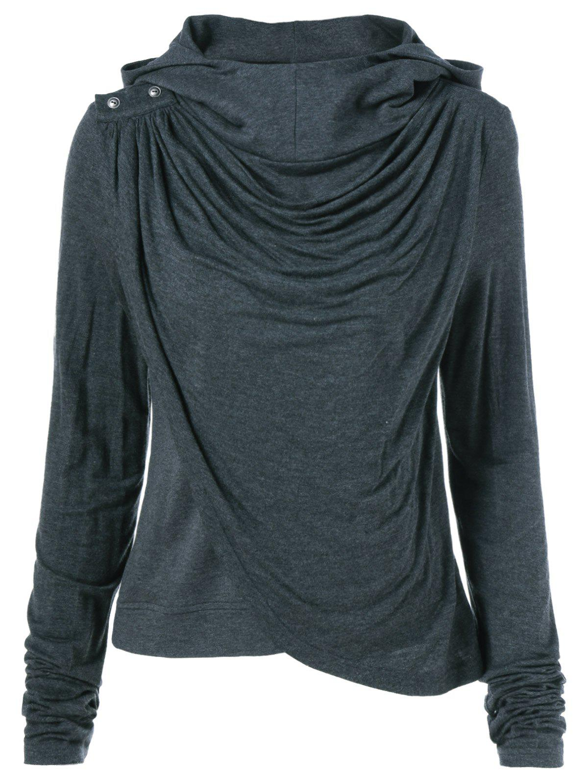 Ruched Asymmetrical Hoodie - BLACK GREY L