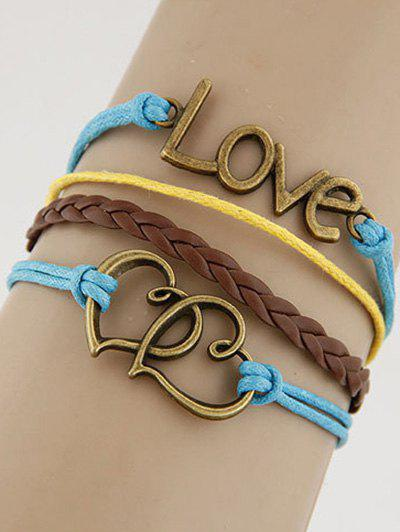 Buy Hollowed Hearts Love Braided Bracelet COLORMIX