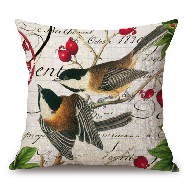 Country Style Printing Birds Letter Design Sofa Pillow Case handpainted birds and leaf branch printed pillow case