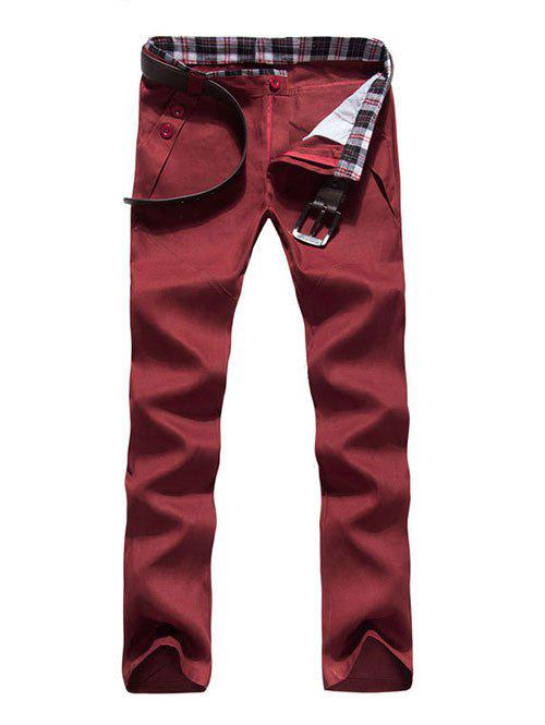 Zipper Fly Button Embellished Straight Leg Pants - WINE RED 2XL