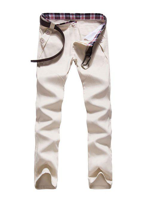 Zipper Fly Button Embellished Straight Leg Pants - OFF WHITE 2XL
