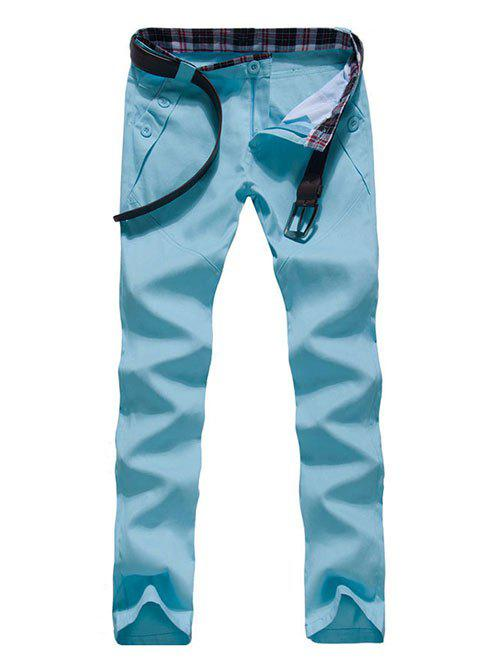 Zipper Fly Button Embellished Straight Leg Pants - WATER BLUE 2XL
