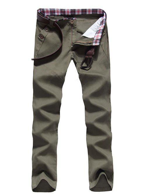 Zipper Fly Button Embellished Straight Leg Pants - ARMY GREEN L