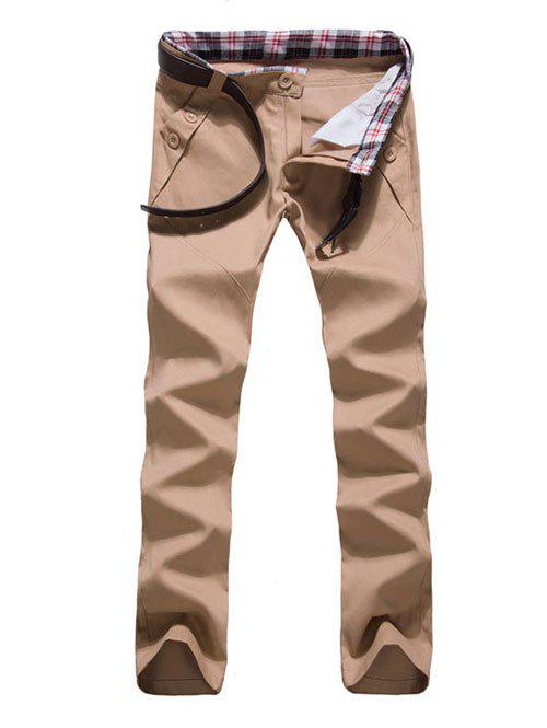 Zipper Fly Button Embellished Straight Leg Pants - KHAKI L