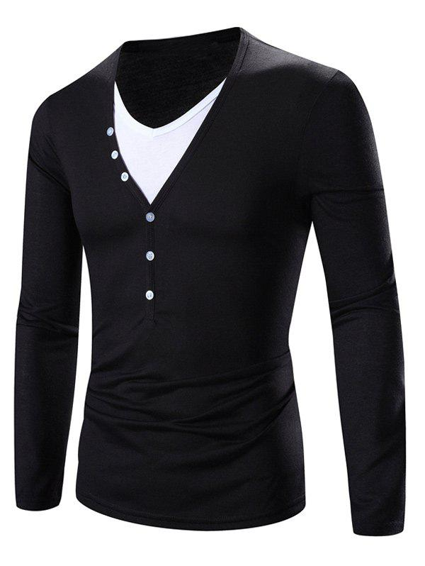 Faux Twinset Color Block Splicing Design V-Neck Long Sleeve T-Shirt - WHITE/BLACK XL