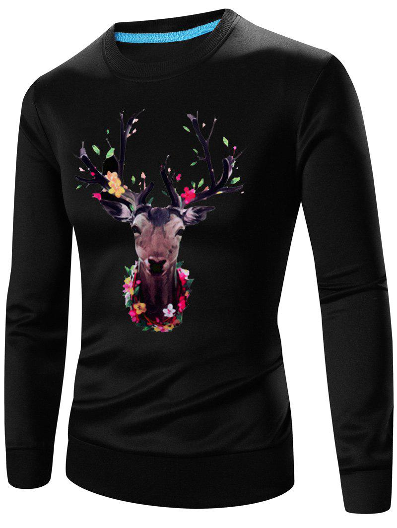 Crew Neck Long Sleeve 3D Elk Print Sweatshirt - BLACK M