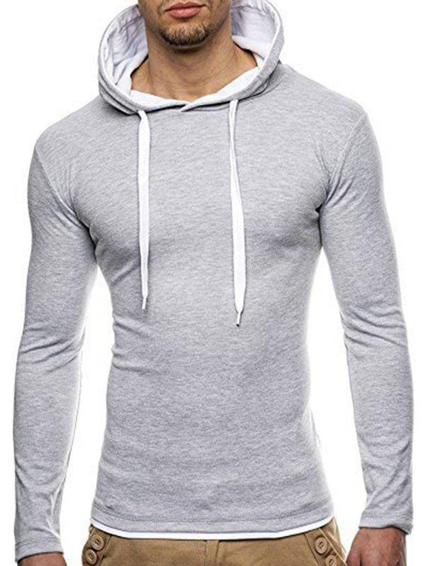 Long Sleeve Hooded Slimming T-Shirt - LIGHT GRAY M