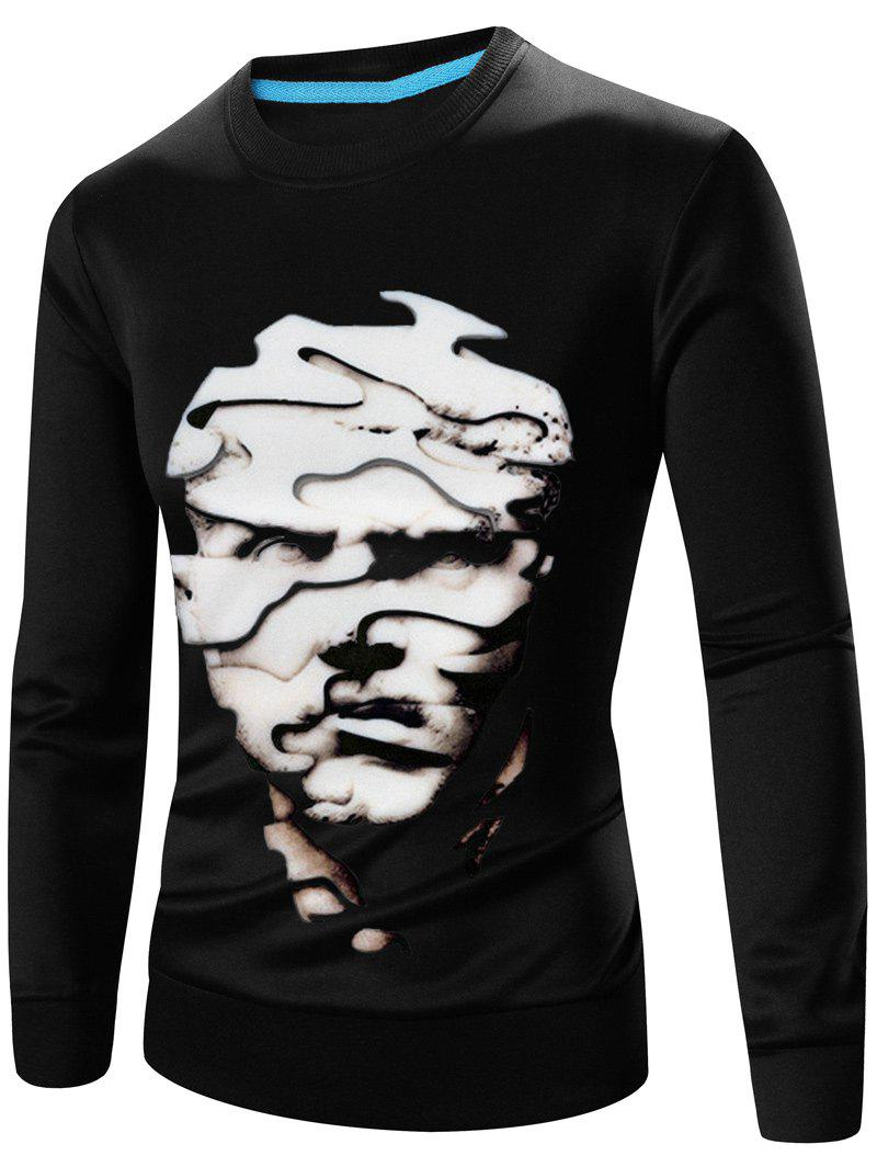 Abstract 3D Face Print Crew Neck Long Sleeves Sweatshirt - BLACK 3XL