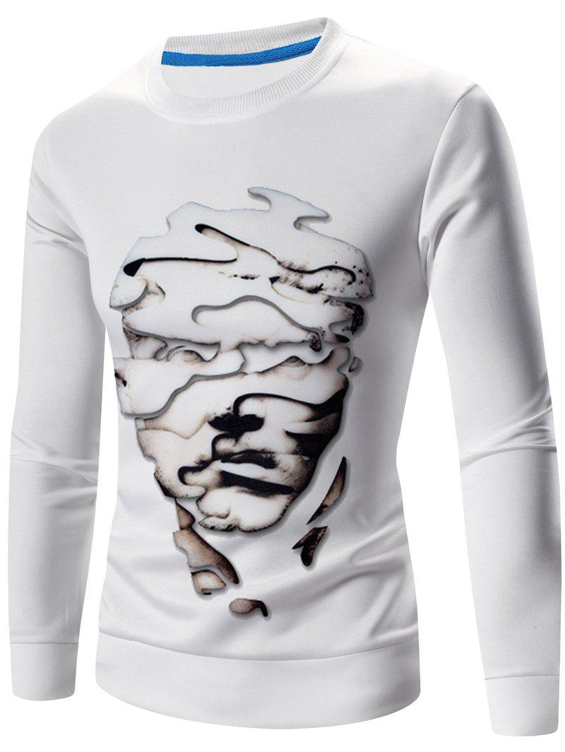 Abstract 3D Face Print Crew Neck Long Sleeves Sweatshirt - WHITE 2XL