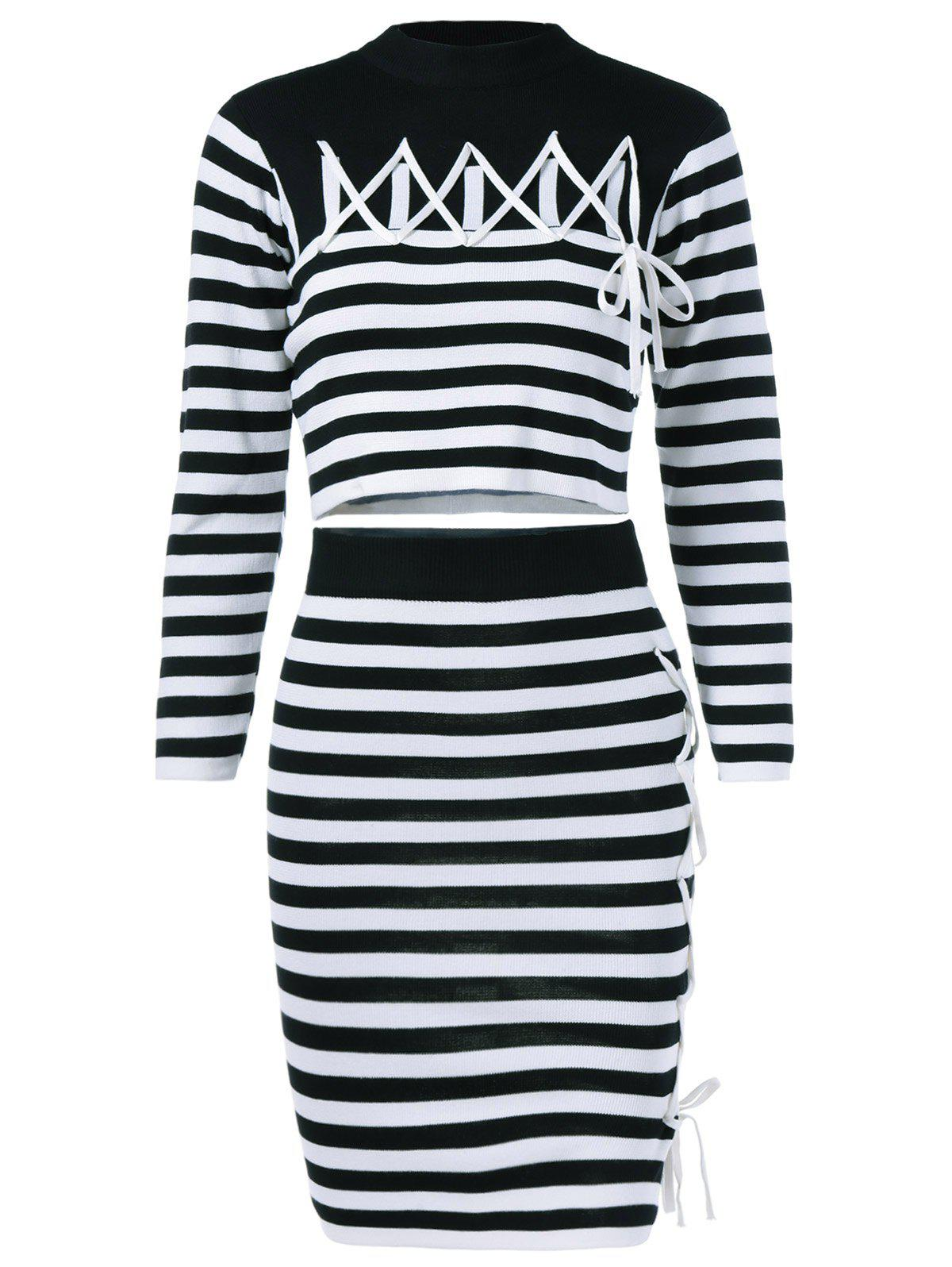 Striped Top + Jupe Twinset - Blanc et Noir ONE SIZE