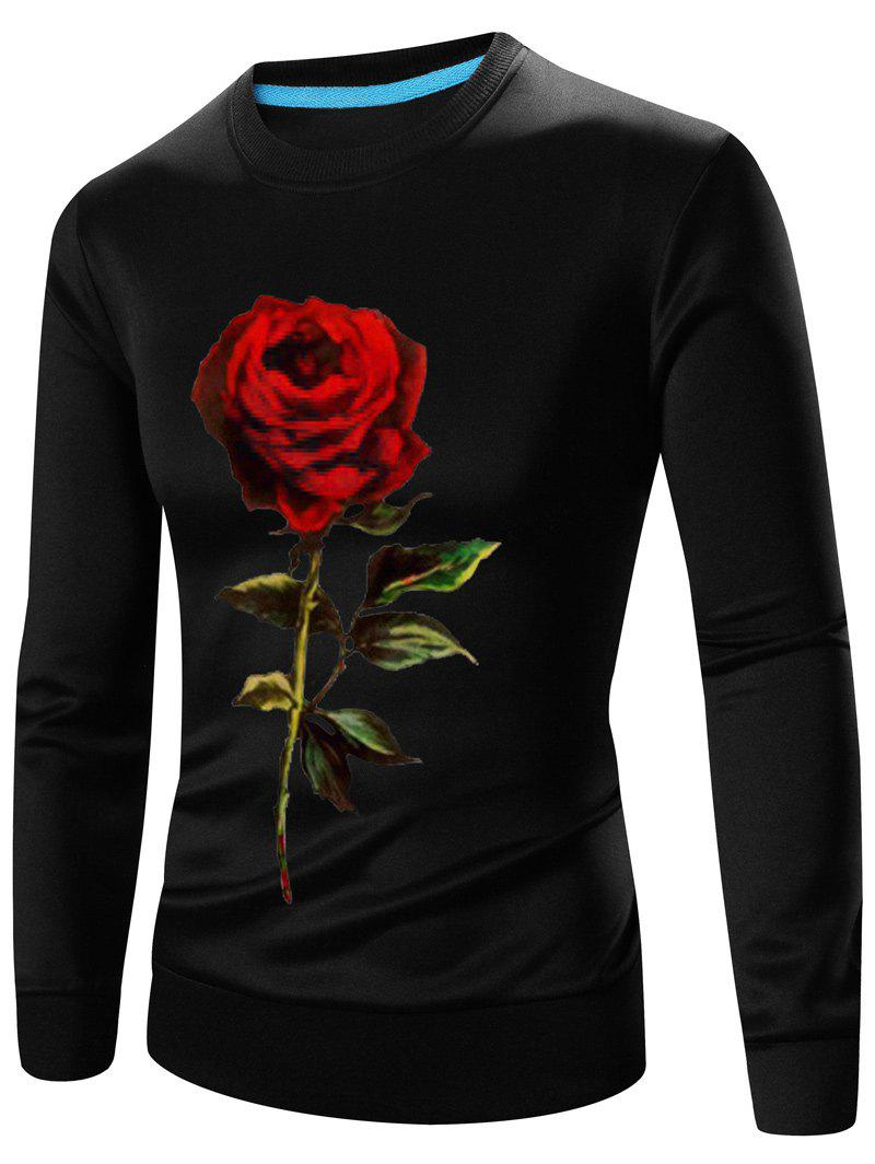 Crew Neck Long Sleeve 3D Rose Print Sweatshirt - BLACK L