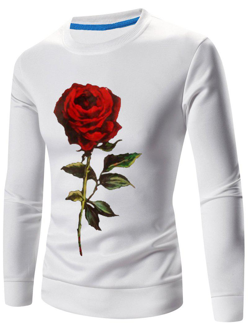 Crew Neck Long Sleeve 3D Rose Print Sweatshirt - WHITE 3XL
