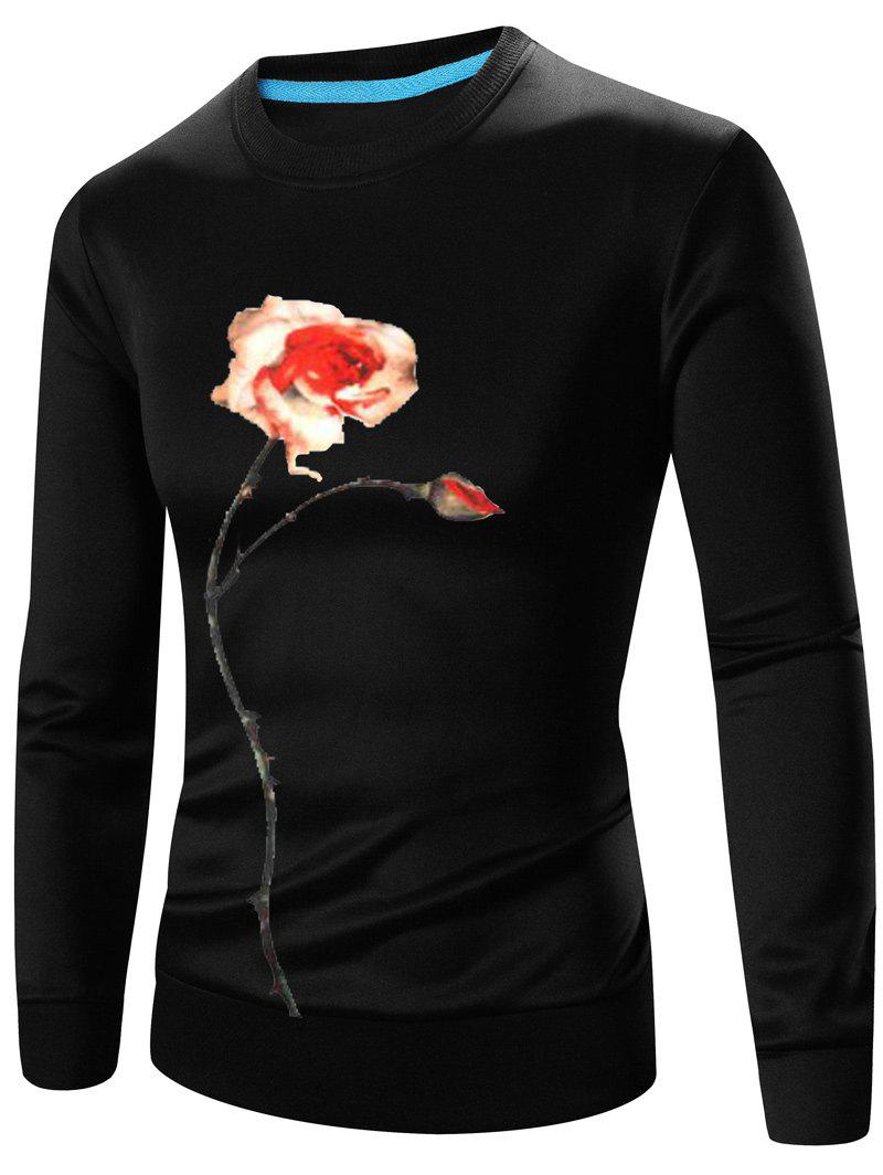 Crew Neck Long Sleeve 3D Flower Print Sweatshirt - BLACK M