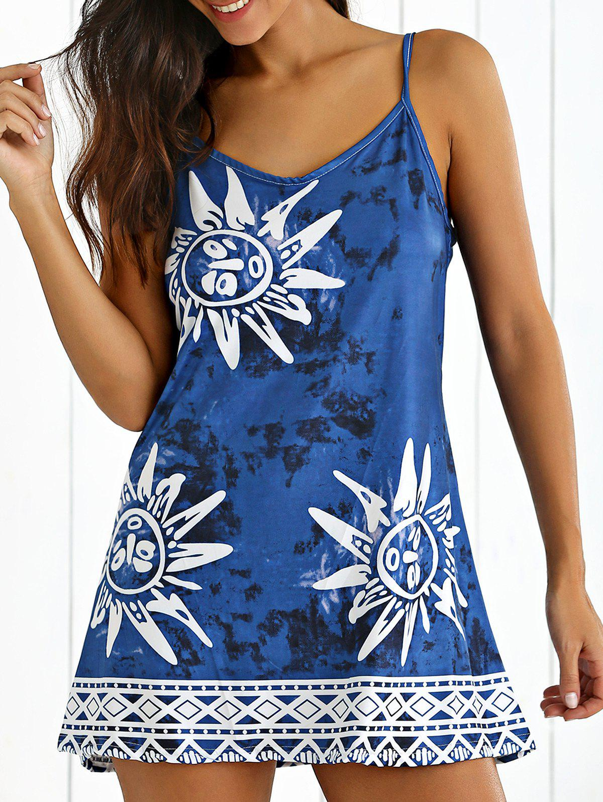 Tribal Print Tie-Dyed Summer Dress - CADETBLUE XL