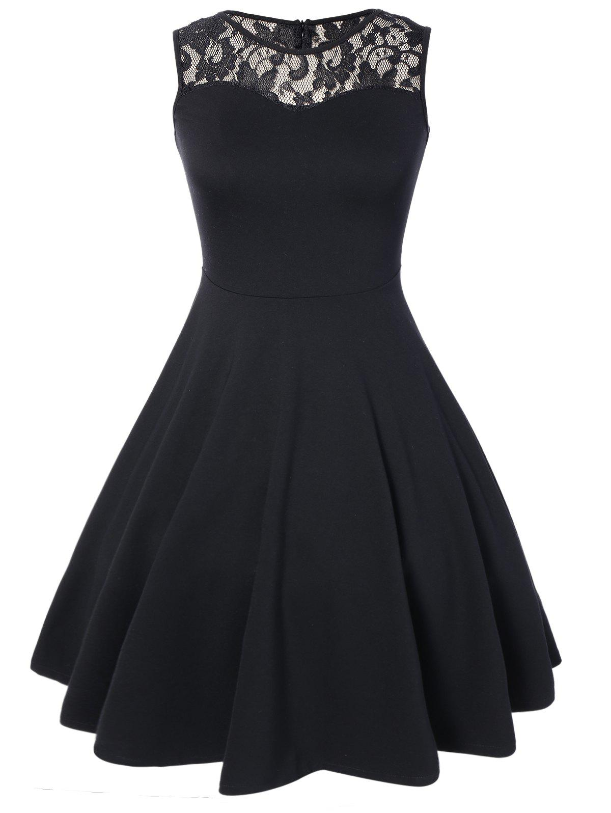 Sleeveless Lace A Line Party Swing Skater Dress - BLACK L