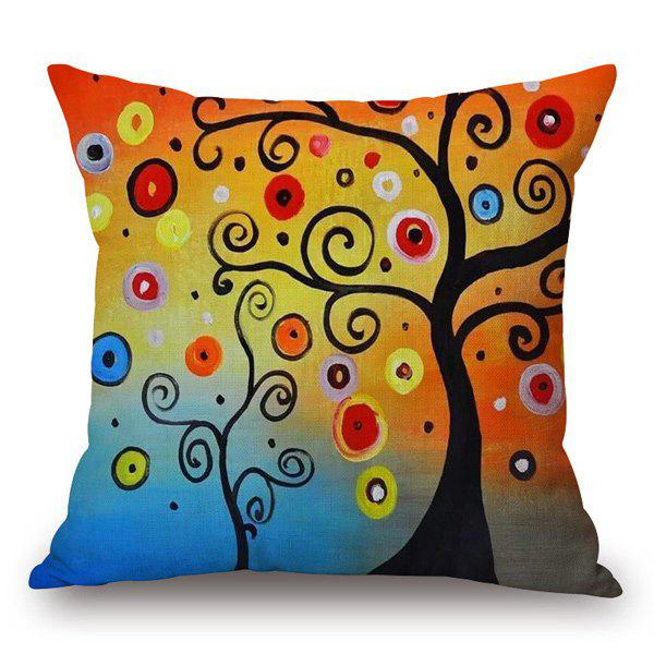 Colorful Tree Pattern Square Cushion Cover Pillow CaseHome<br><br><br>Color: COLORMIX