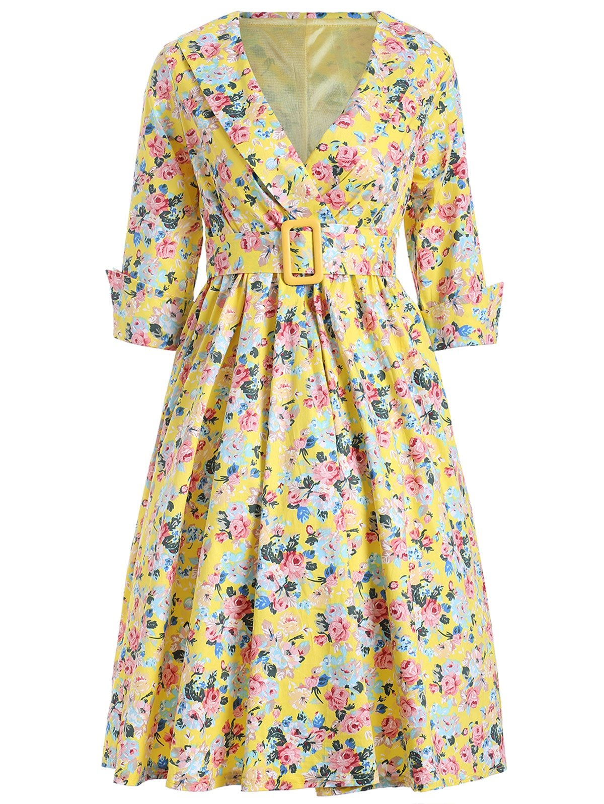 Vintage Shawl Collar Floral Swing Dress - YELLOW 2XL