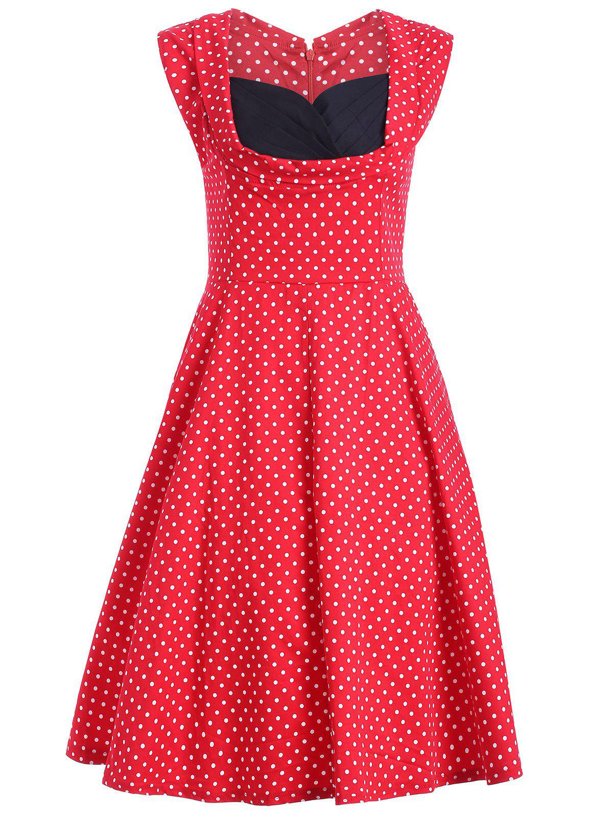 Sweetheart Neck Swiss Dot Dress - RED 2XL