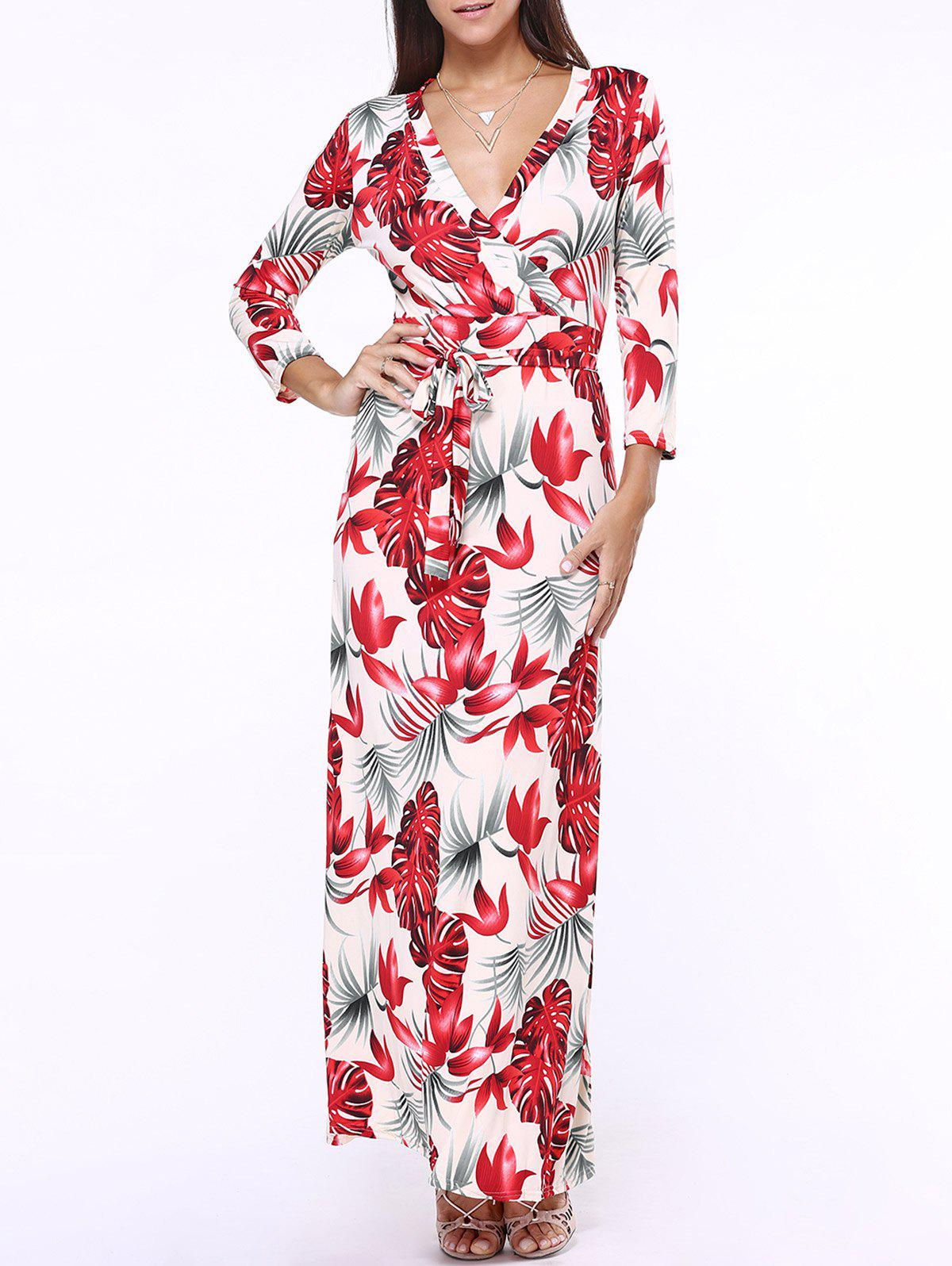Plunging Neck Floral Print Belted Maxi Dress - RED 5XL