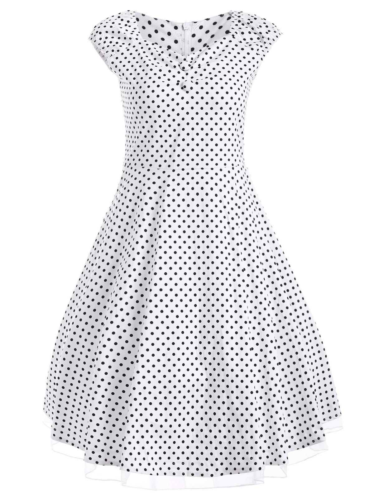 все цены на Vintage Polka Dot Print Buttoned Swing Dress