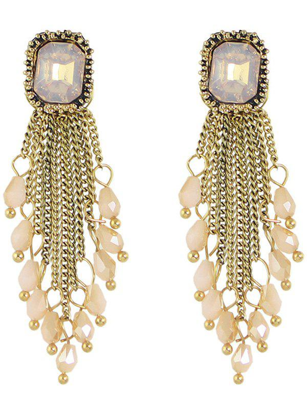 Faux Crystal Geometric Chains Drop EarringsJewelry<br><br><br>Color: PINK