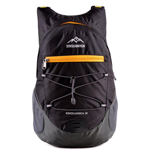 Cross Straps Zippers Color Splicing Backpack - BLACK