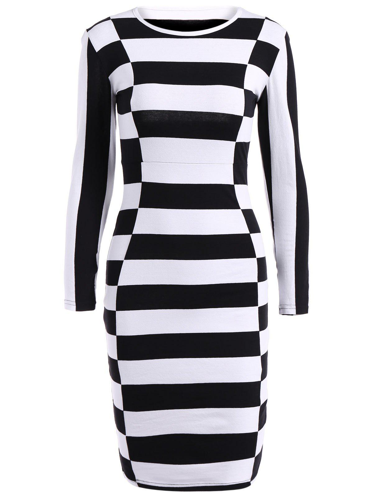 Long Sleeve Stripe Sheath DressWomen<br><br><br>Size: S<br>Color: STRIPE