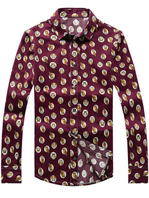 Owl Printed Turn-Down Collar Plus Size manches longues - Vin rouge L