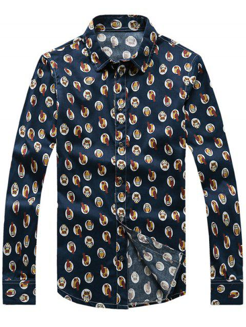 Owl Printed Turn-Down Collar Plus Size manches longues - Cadetblue M