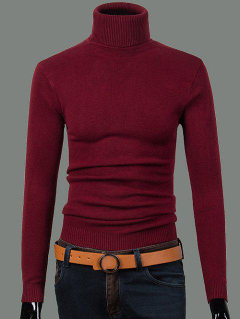 Ribbed Turtleneck Long Sleeve Sweater - WINE RED S