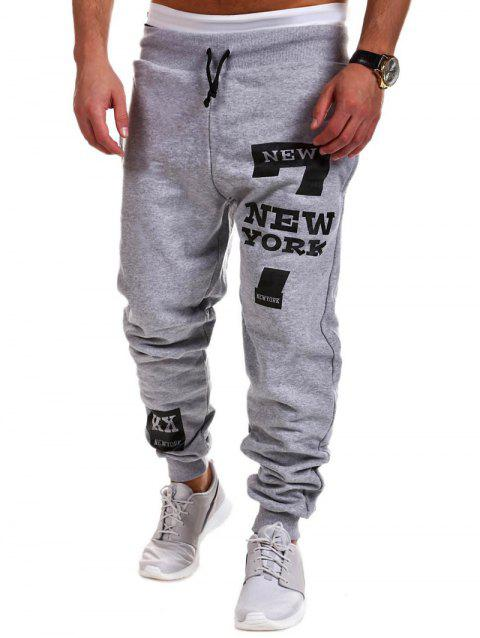 Mid Rise Letter Print Drawstring Jogger Pants - LIGHT GRAY 2XL