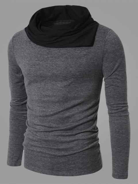 Cowl Neck Long Sleeve Color Splicing T-Shirt - GRAY M